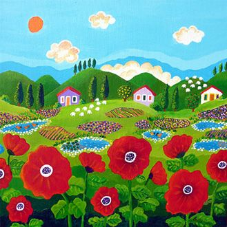 Gina gallery - Red Poppies in the Village