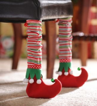 Christmas Chair Leg Socks Santa Table Foot Cover Clown Boots Protector Stocking
