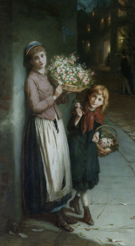 "Augustus Edwin Mulready (1844-1904)  Flower Girls  Oil On Canvas  -1885  92 x 54 cm  (3' .22"" x 21.26"")"