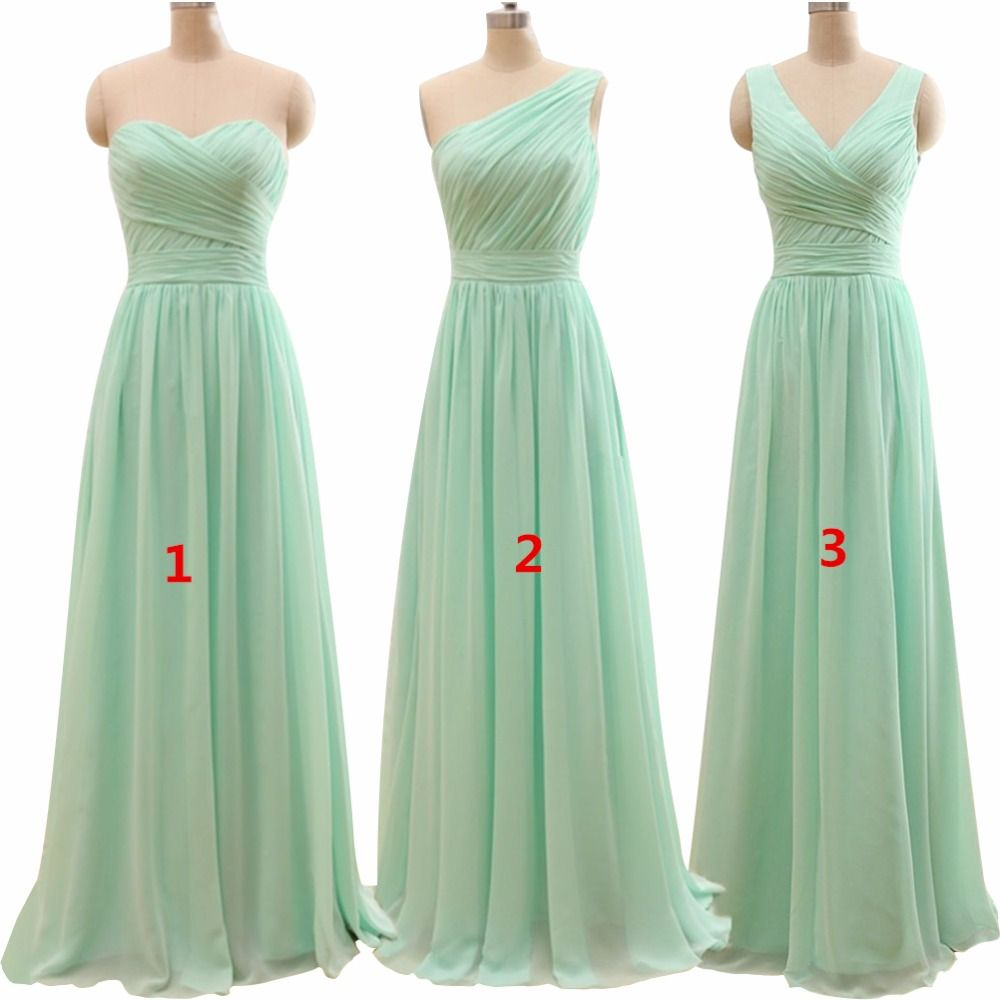 New arrival three styles a line mint green long chiffon a line