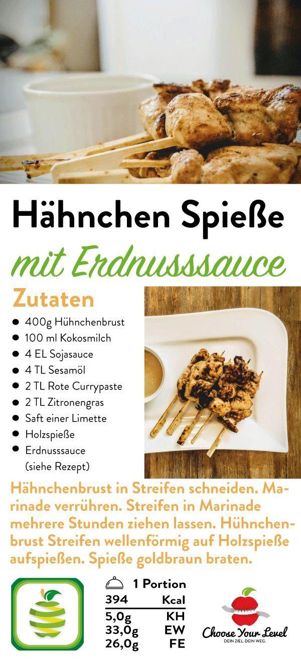 Hähnchen Spieße mit Erdnusssauce – Choose Your Level™