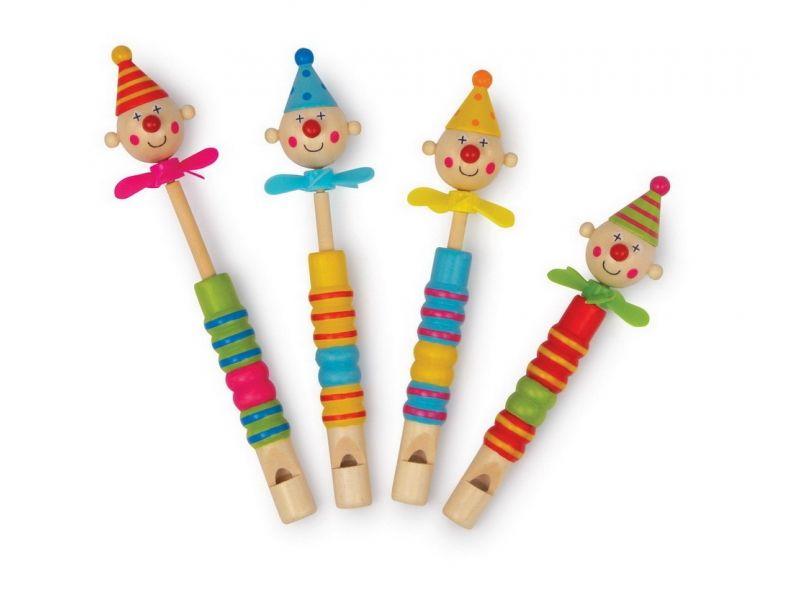 Met deze vier vrolijken, schattingen clowntjes kan muziek gemaakt worden. Als je blaast en de kolf schuift, verandert de toon. Door de kolf in en uit te schuiven verandert de toon en ontstaan melodieën. Om hun nek hebben ze kleine propellertjes.