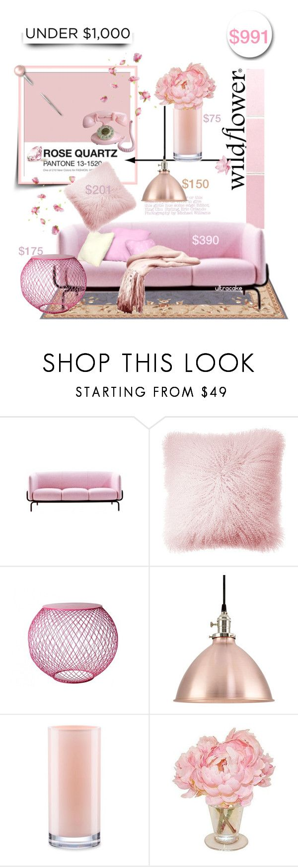 """""""Rose Quartz Living Room"""" by ultracake ❤ liked on Polyvore featuring interior, interiors, interior design, дом, home decor, interior decorating, JAG Zoeppritz, Sounds Like Home, Kate Spade и living room"""