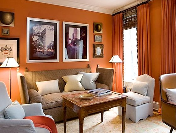 living room orange walls liking this orange for an accent wall in the dining room 13636