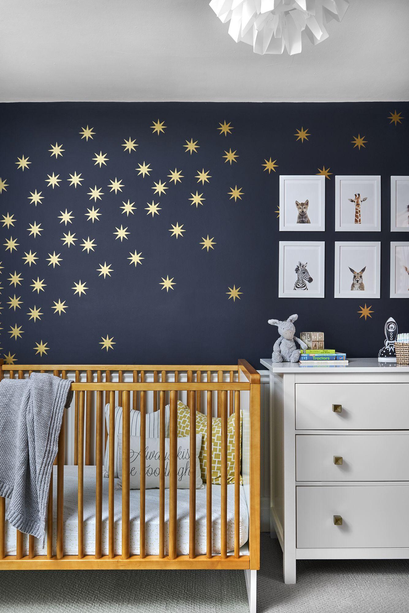 Beautiful Nursery Decor With Navy Blue Wall And Stars Decal Boys Room Blue Beautiful Nursery Decor Boy Nursery Colors