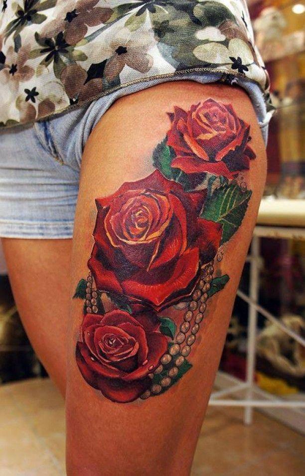 tattoo blumen oberschenkel tattoo ideen oberschenkel. Black Bedroom Furniture Sets. Home Design Ideas