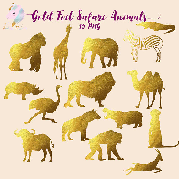 Safari Animals Animals Clip Art Gold Foil Clipart Clipart Etsy Animal Clipart Safari Animals Safari