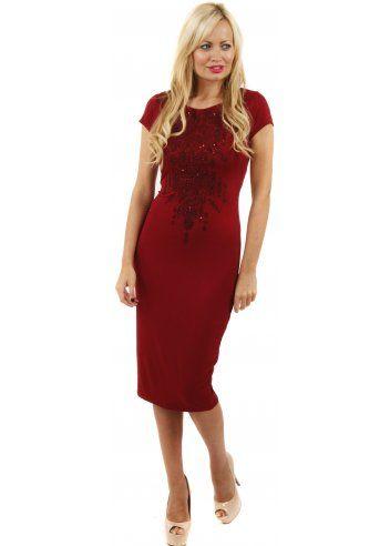 3ca150be789a Designer Desirables Beaded Front Burgundy Cap Sleeved Midi Dress  mididress