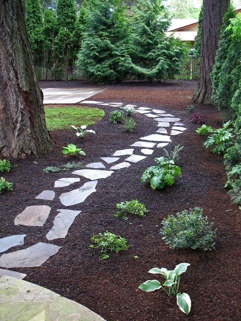 Low maintenance looks great walkway of flagstone offset for Simple low maintenance landscaping