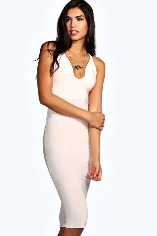 da1b14ec0d4 Boohoo Lucy Plunge Neck Slinky Midi Bodycon Dress on shopstyle.com ...