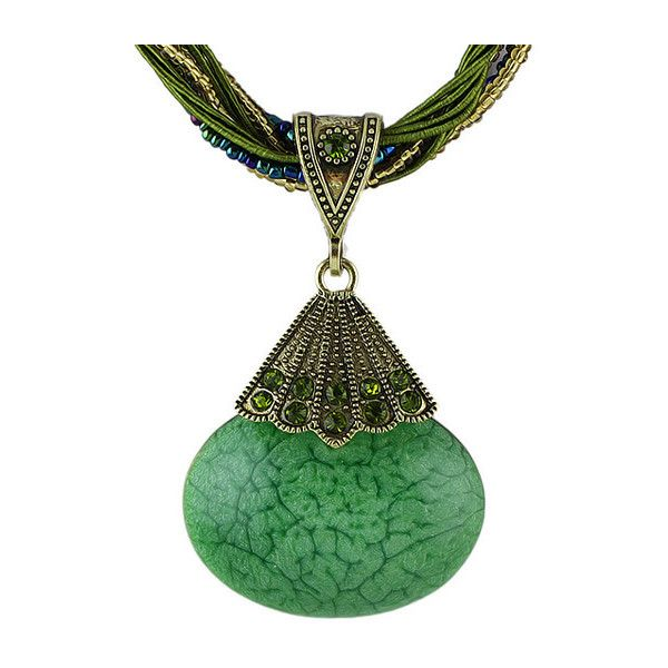 Green Gemstone Pendant Necklace ($6.26) ❤ liked on Polyvore featuring jewelry, necklaces, gem necklace, gemstone necklaces, green gemstone necklace, green pendant necklace and gemstone pendant necklace