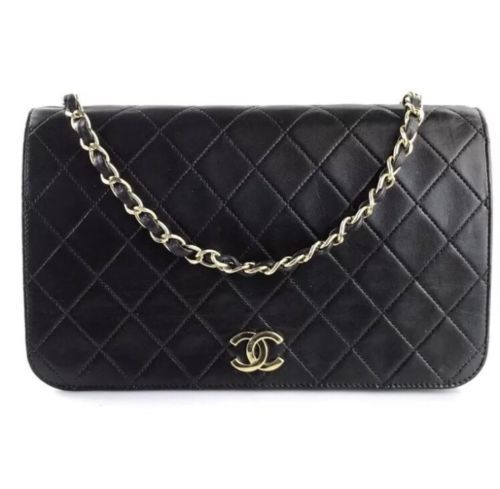 b84df8d5a9a4 Vintage Black Chanel Quilted Lambskin Mademoiselle Wallet on Chain Single  Flap