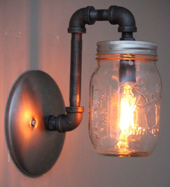 Quickly And Easily Replace Your Existing Wall Sconce Light Fixtures With This Industrial Rustic M Mason Jar Lighting Mason Jar Wall Sconce Diy Mason Jar Lights