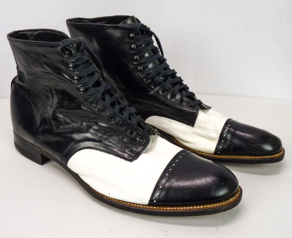 Vintage Stacy Adams 2-Tone Leather Black & White Spectator Ankle Boots Mens  14