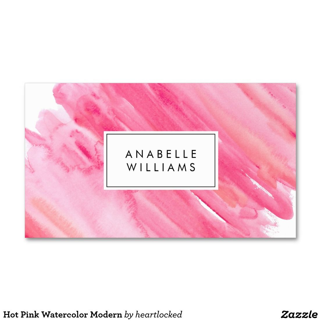 Hot pink watercolor modern business card business cards hot pink watercolor modern double sided standard business cards pack of 100 colourmoves