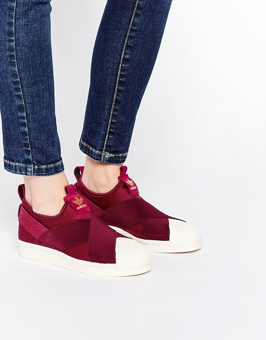 adidas Originals Superstar Burgundy Slip On Sneakers