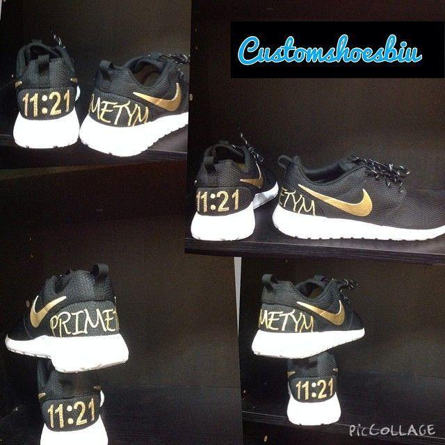Custom Roshe Run- Black and Gold Custom Letters Primttym Nike Roshe Run