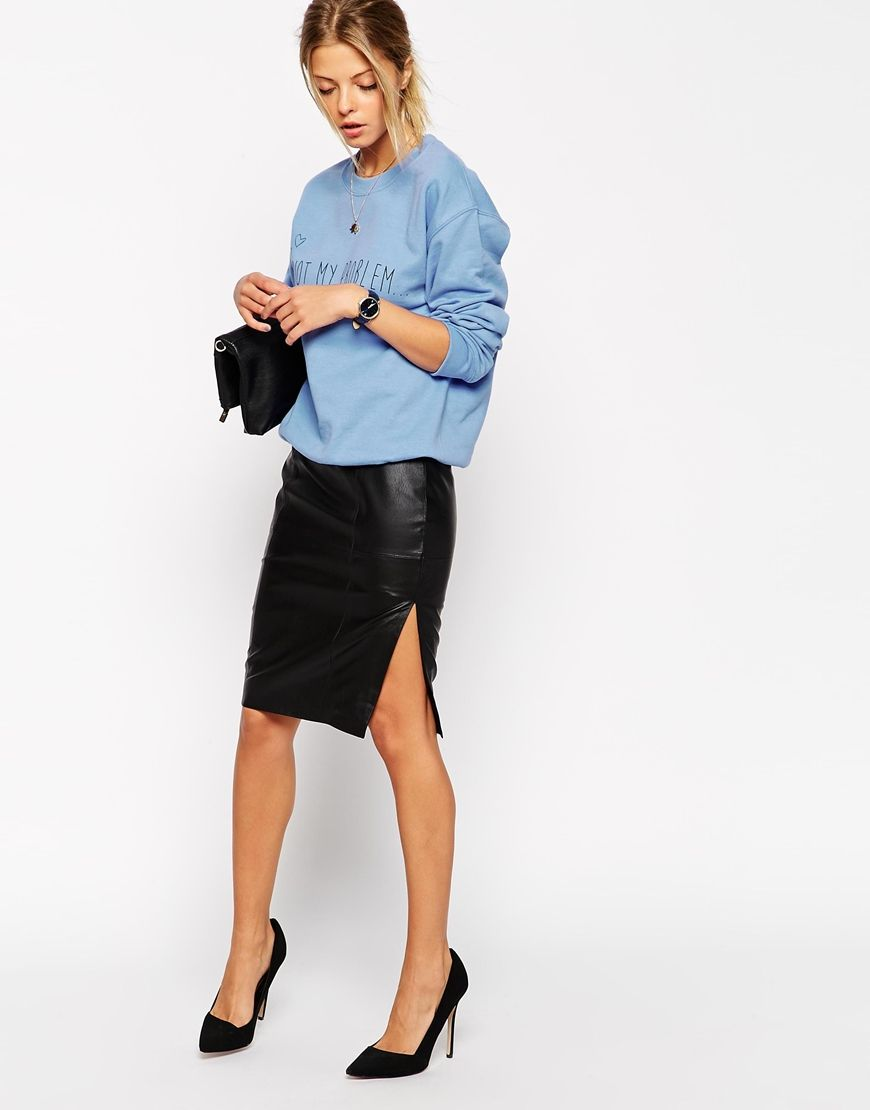 Image 1 of ASOS Pencil Skirt In Leather With Side Split | Fashion ...