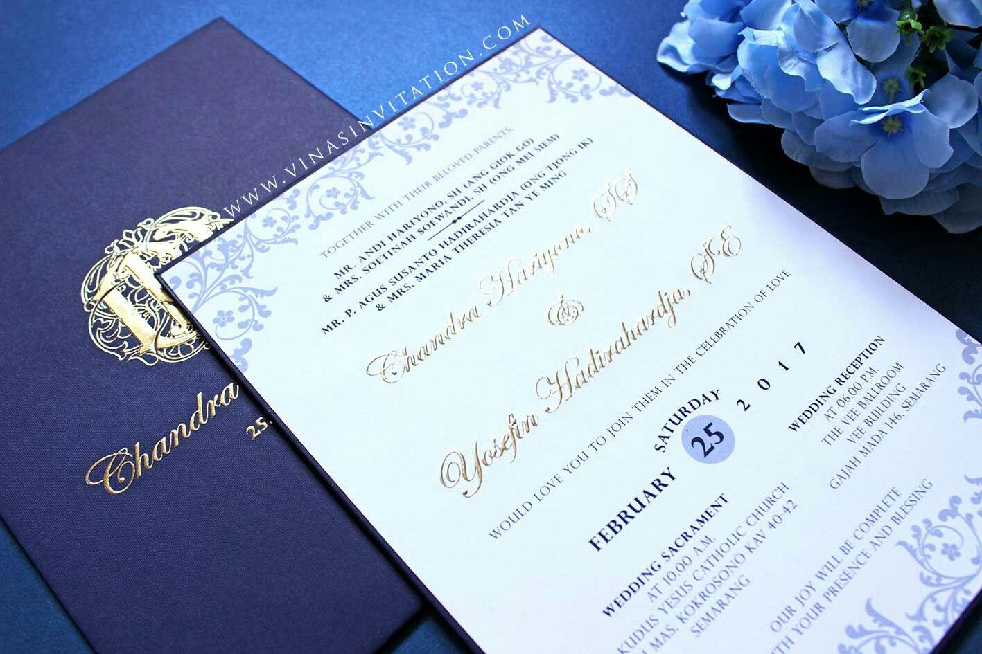 Vinas invitation Emboss gold Custom invitation Wedding invitation