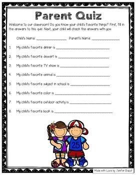 Free!! Open House Activity- Parent Quiz: Do you know your ...
