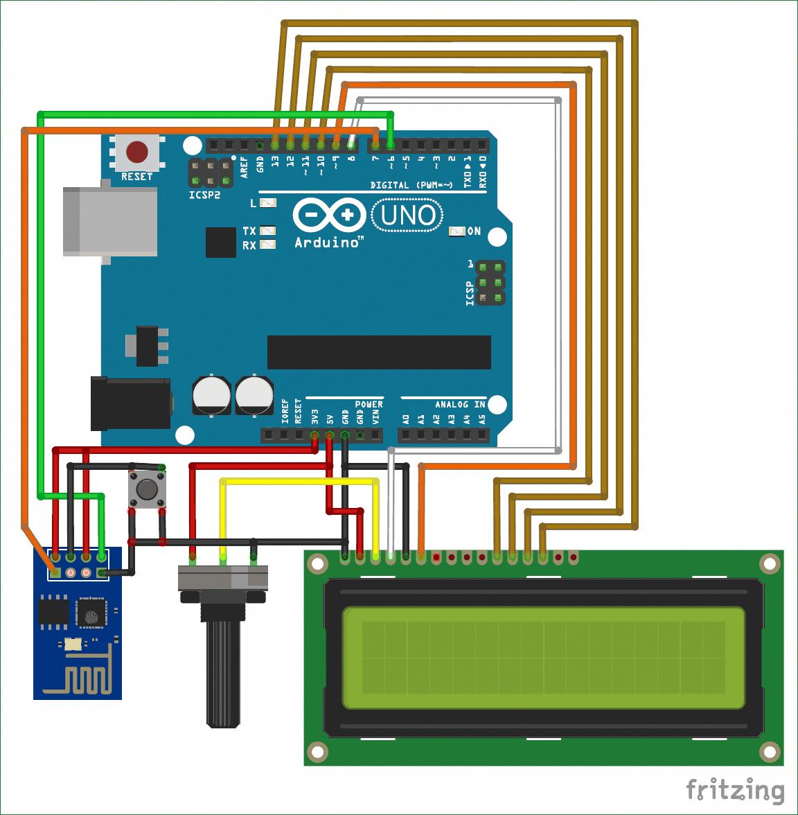 Interfacing Circuit Diagram For Arduino With Esp8266 Electronics Electronicgadget