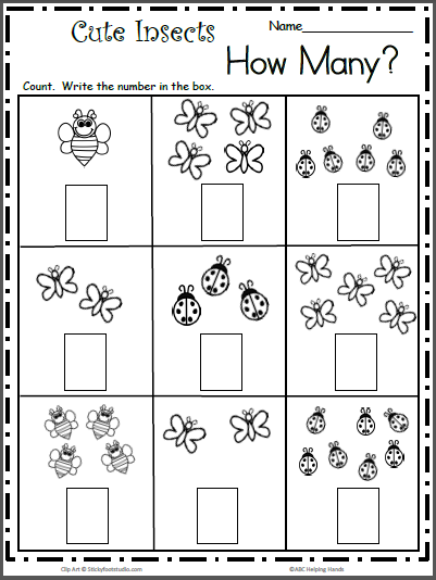 Count The Cute Insects - Free Math Worksheet For K - Madebyteachers Preschool  Math Worksheets, Kindergarten Math Worksheets Free, Pre K Math Worksheets
