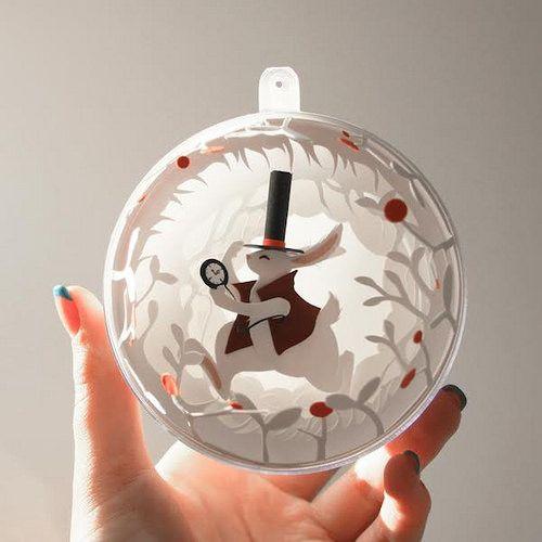 Cut Paper Holiday Ornament by Marina Adamova