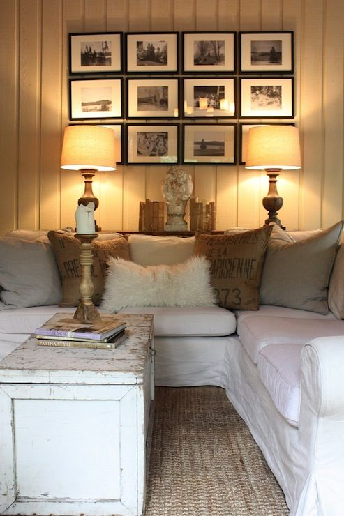 sweet white sofa cover   Suzie: My Sweet Savannah - Cottage living room with white ...