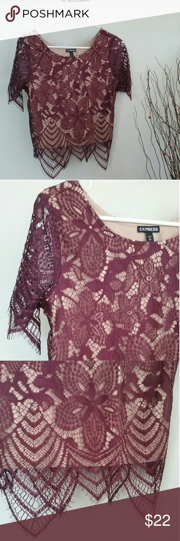 b0076887050 EXPRESS Maroon Tan Lace Crop Top XS New, without tags. Wine/maroon lace  with tan inlet. Express Tops Crop Tops