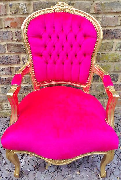 hot pink chair clear rail would love to have one in red doen t match anything i but ant gold trim for the make up table furniture