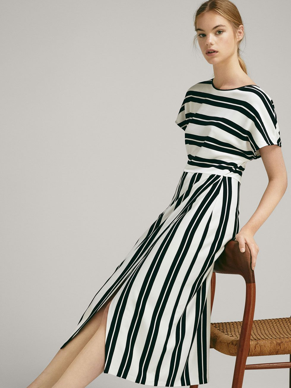 74bc6db4c STRIPED DRESS WITH WRAP SKIRT - Women - Massimo Dutti | Robe 2018 in ...