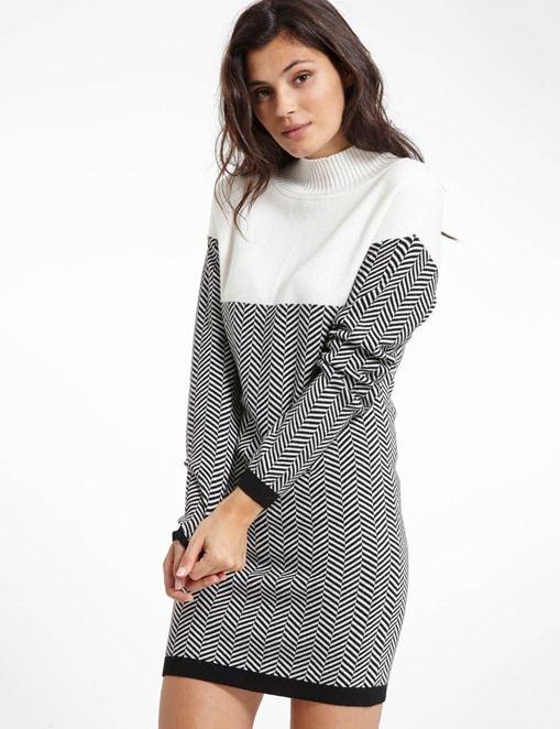 Robe motif jacquard femme