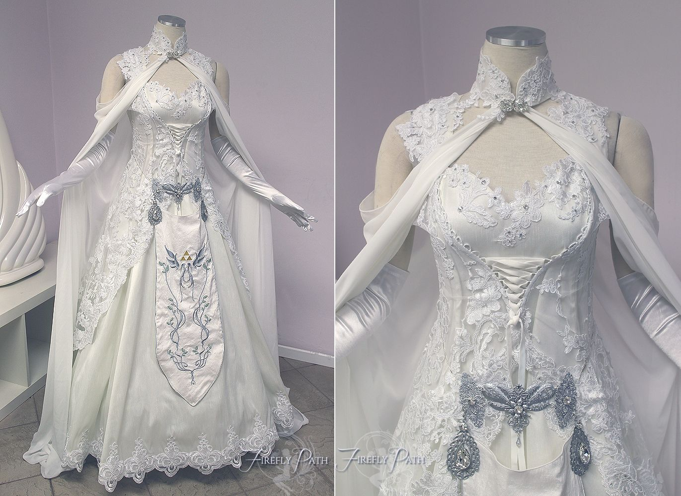 White apron gainesville fl -  Gown We Created For Our Bridal Customer Elizabeth A Crystal Clasp Closes The Collar Cape In Front The Hylian Crest Is Embroidered On A Silk Apron
