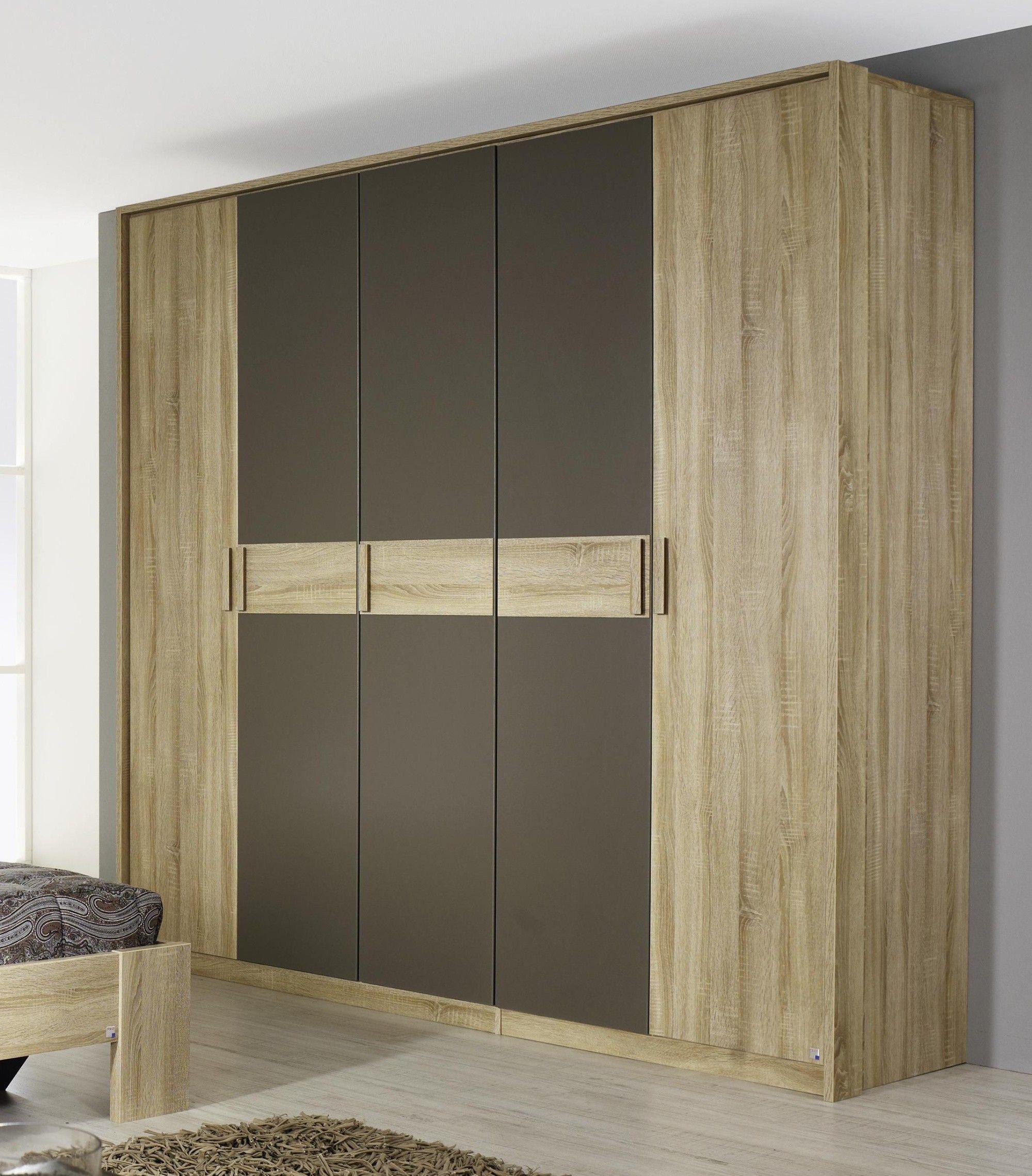 Armoire contemporaine 5 portes chêne clair/gris Fairmont ...