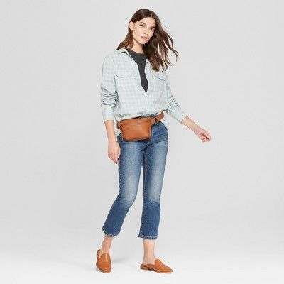 75f898cf Women's Plaid Long Sleeve Plaid Flannel Shirt - Universal Thread Green Plaid  M
