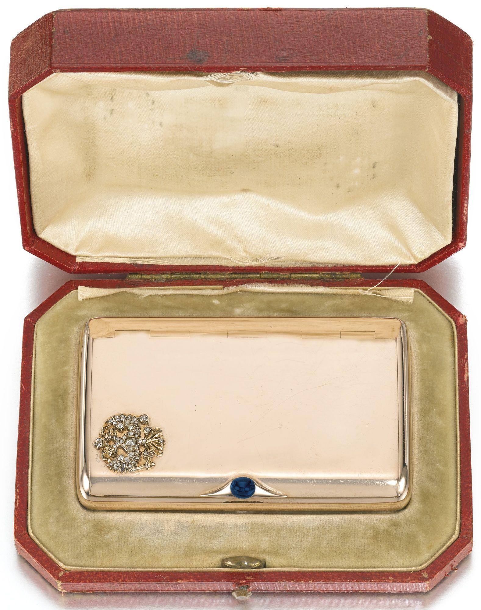 An Imperial Presentation Fabergé jewelled gold cigarette case, workmaster Gabriel Niukkanen/Nykänen, St Petersburg, circa 1895 | lot | Sotheby's