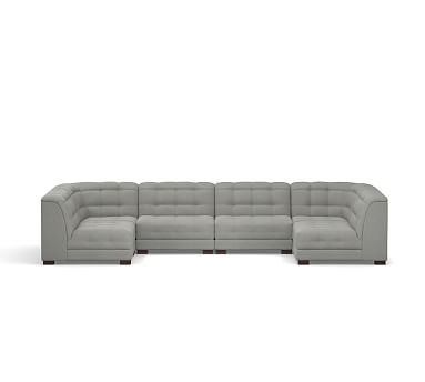 Ken Fulk Upholstered 6-Piece U-Shaped Sectional, Polyester Wrapped Cushions, Performance Everydaysuede(TM) Metal Gray