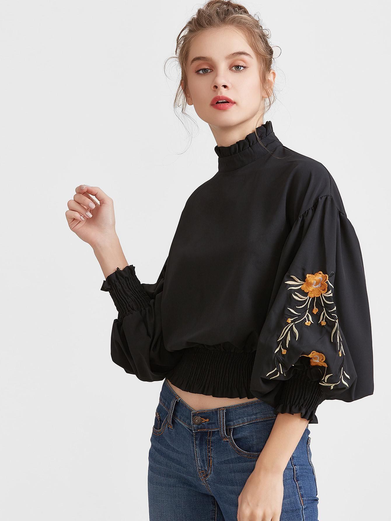 3ecf4fcb56f3a  AdoreWe  MakeMeChic Womens - MAKEMECHIC Black Flower Embroidered Lantern  Sleeve Shirred Hem Blouse - AdoreWe.com