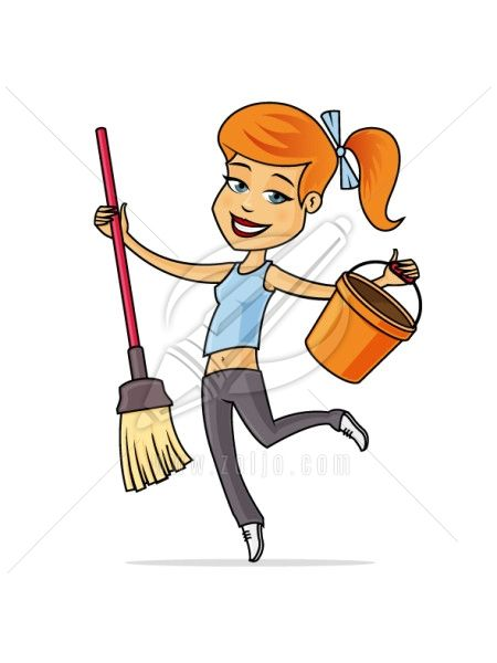 Cleaning Lady Cleaning Cartoon Cartoon Photo