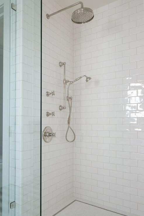 Shower With White Subway Tiles And Glass Shower Partition Shower