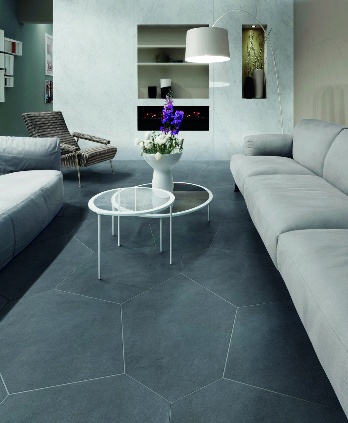Ceramic Tile Polygons Make A Great Flooring Compliment To