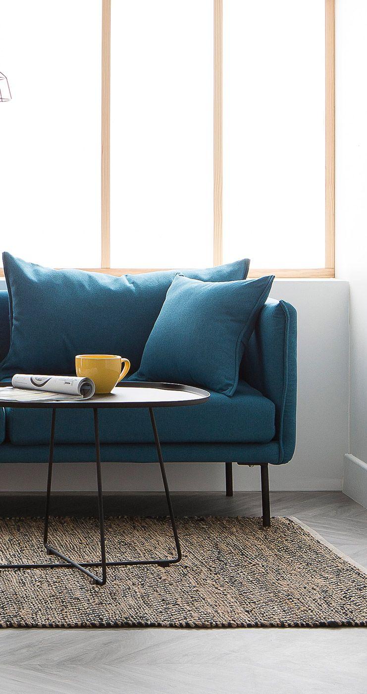 Canape Design Contemporain 3 Places Bleu Canard Mathis Canape Design Design Contemporain Et Mobilier De Salon