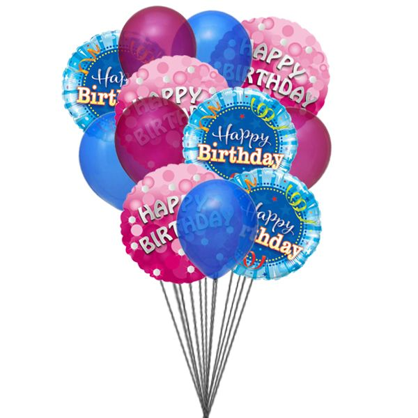 Bunch Of Lovely Happy Birthday Balloons 6 Mylar Latex Send This Beautifull On The Special Day Birth