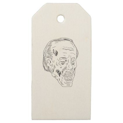 Zombie Head Eyes Closed Drawing Wooden Gift Tags - drawing sketch design graphic draw personalize