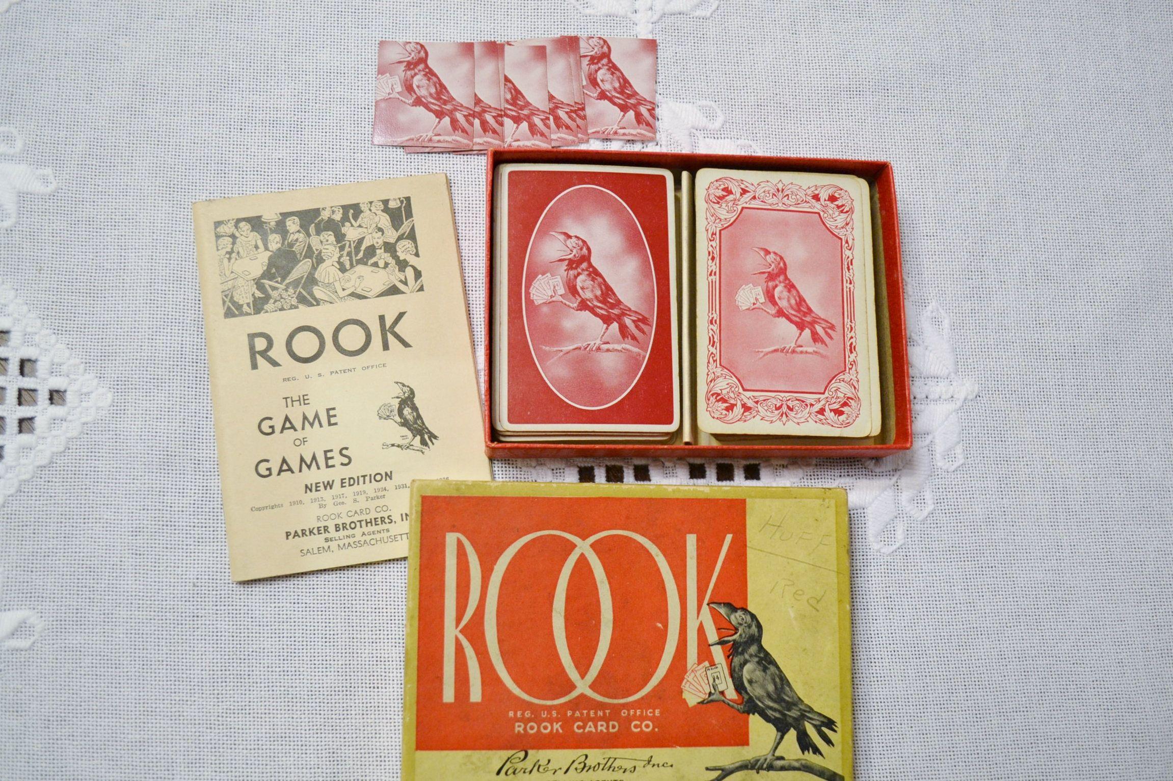 Vintage Rook Card Game 1930s Parker Brothers Playing Card Set Etsy Rook Card Game Card Games Card Set