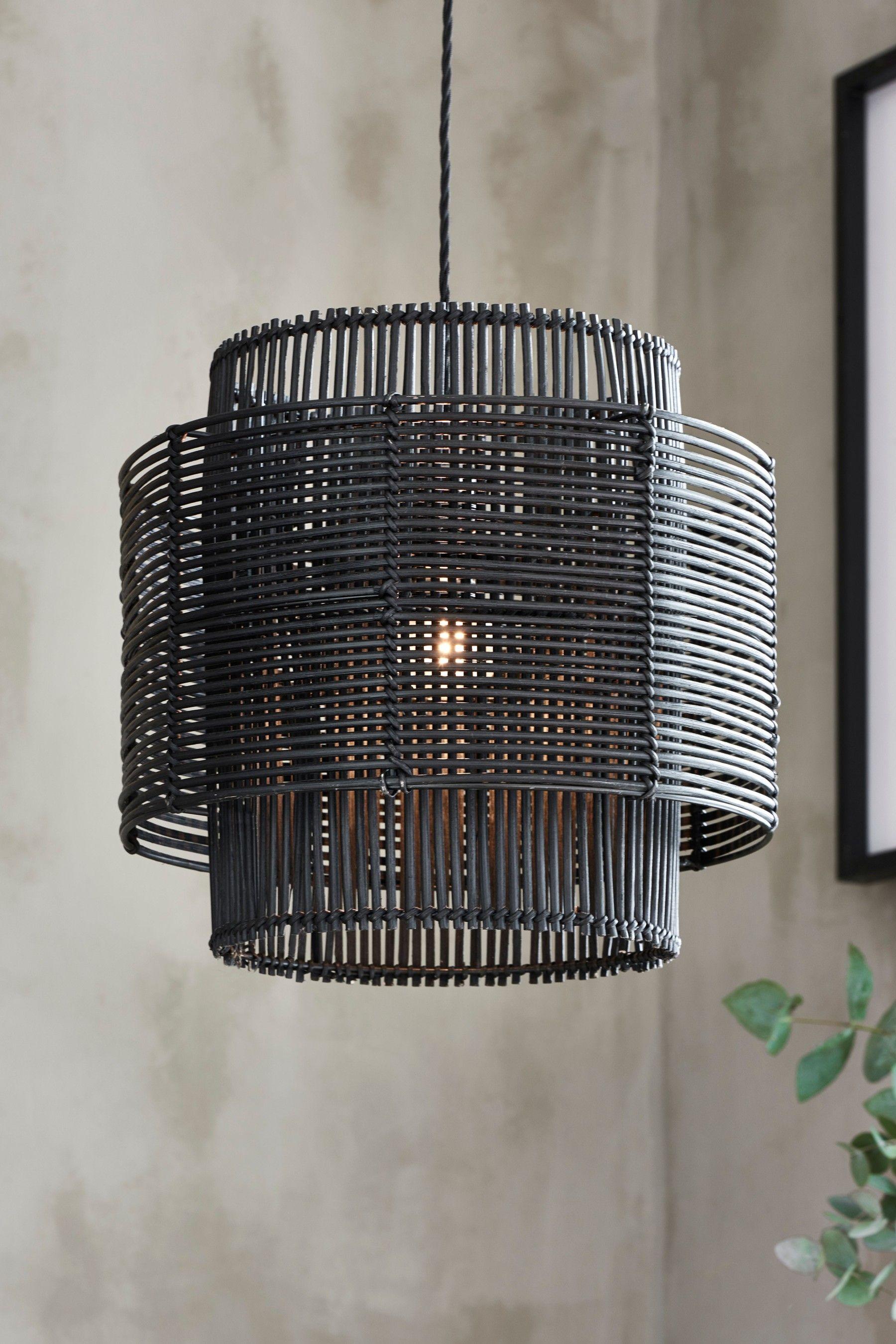 Kai Rattan Easy Fit Shade In 2020 Black Hanging Lighting Rattan Lamp Rattan Shades