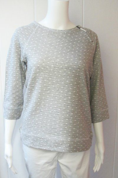 Zip Sweatshirt | The fun polka-dot print and zipper shoulder puts a fun twist on the traditional sweatshirt.  60% Cotton/40% Polyester.  Machine wash cold/tumble dry low.  Available in gray.  Sizes S-XL. | Willy & Babbish Boutique | New Baltimore, MI