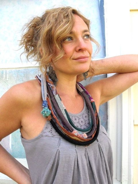 Eco Artisan Infinity  NECKLACE upcycled  recycled woven by zasra, $45.00