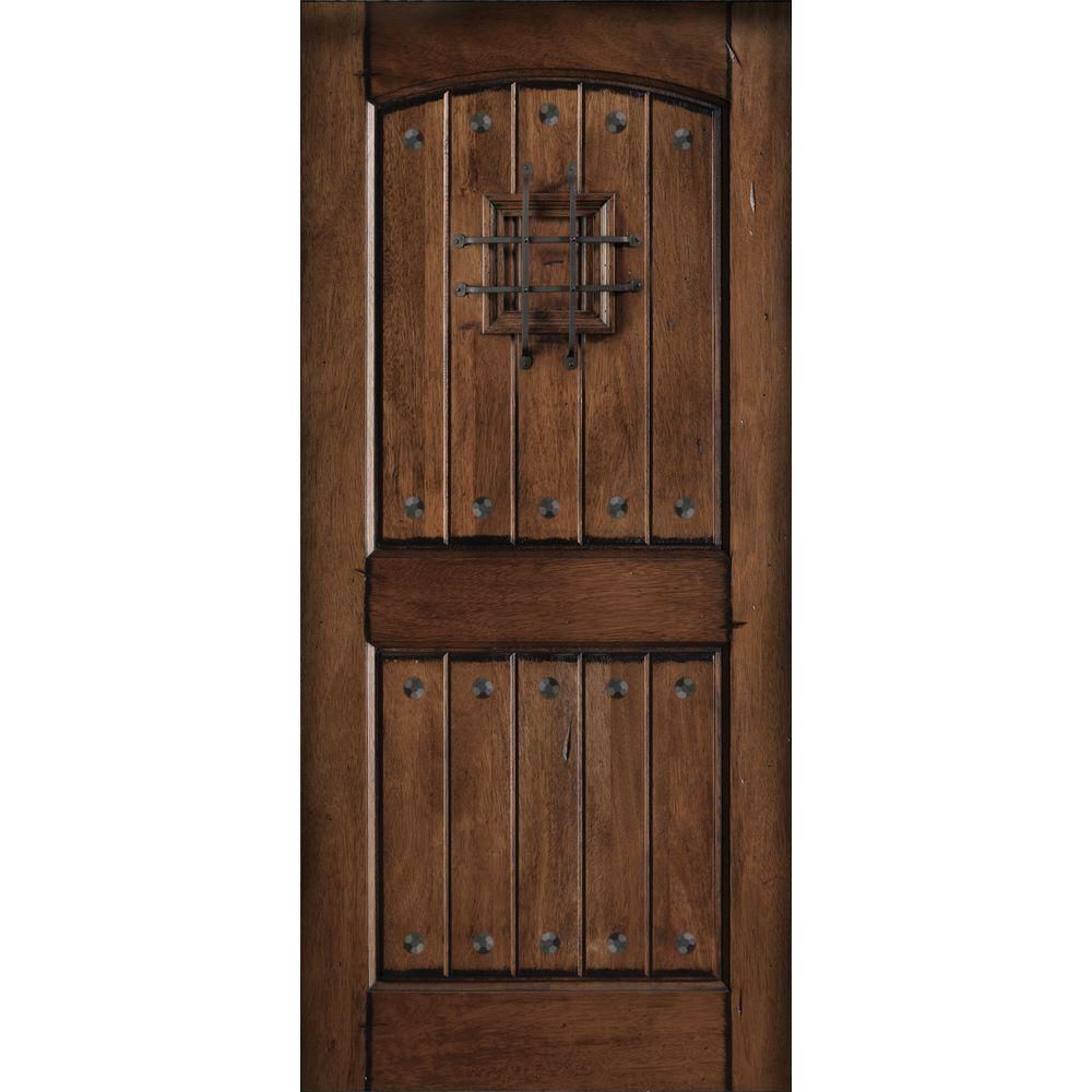 Main Door 32 In. X 80 In. Rustic Mahogany Type Prefinished Distressed  V Groove Solid Stained Wood Speakeasy Front Door Slab