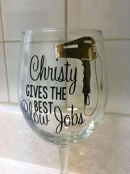 Hairstylist Gift Wine Glass Vinyl